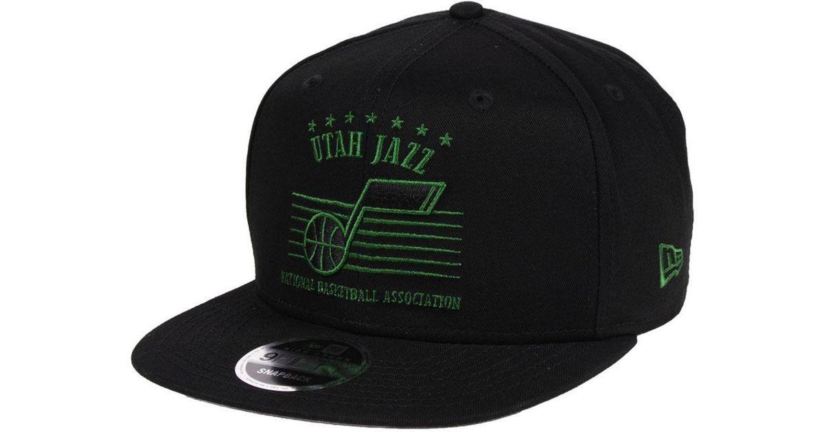 best price lyst ktz utah jazz retro arch 9fifty snapback cap in black for  men 01079 131f6a375