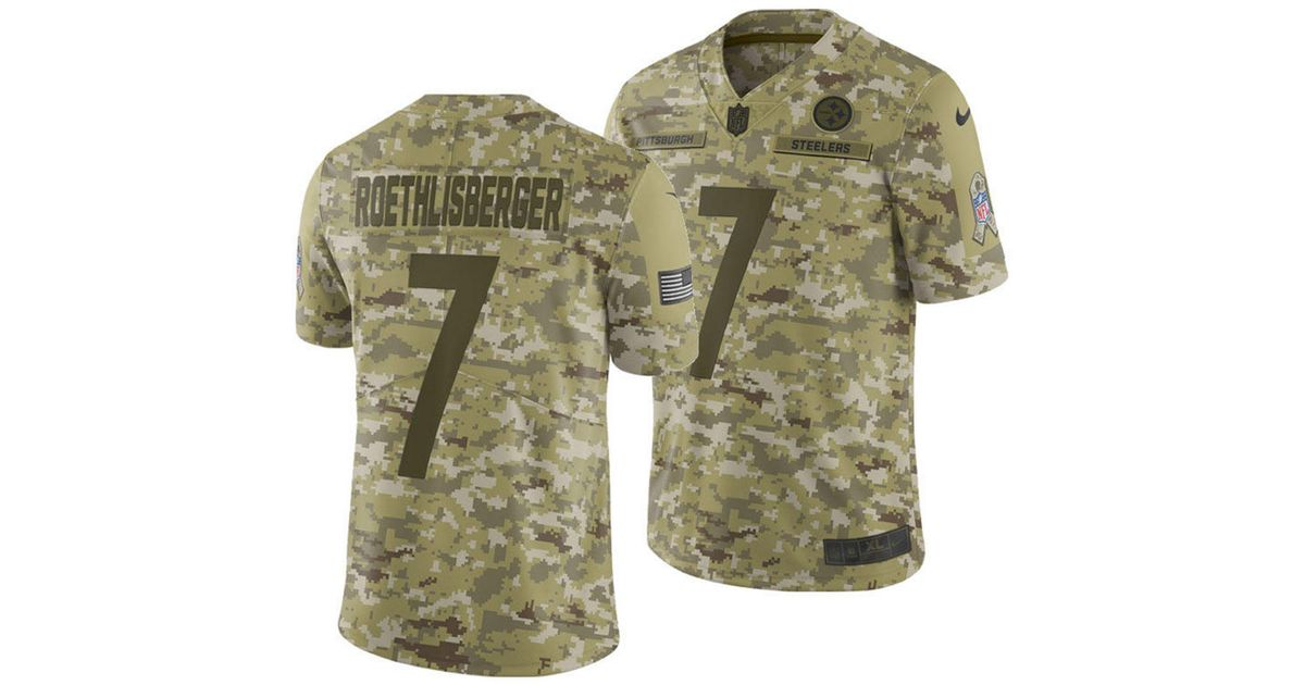 4af89ef29 Nike Ben Roethlisberger Pittsburgh Steelers Salute To Service Jersey 2018  in Green for Men - Lyst
