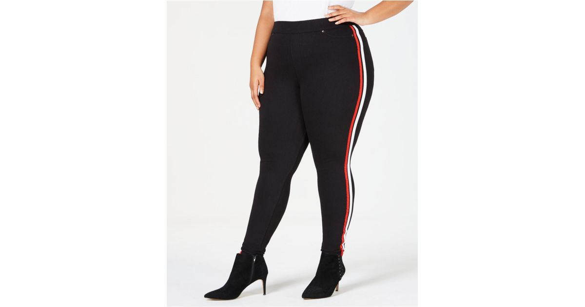b39d080152a07 Lyst - Hue ® Plus Size Racer Stripe Original Denim Leggings in Black