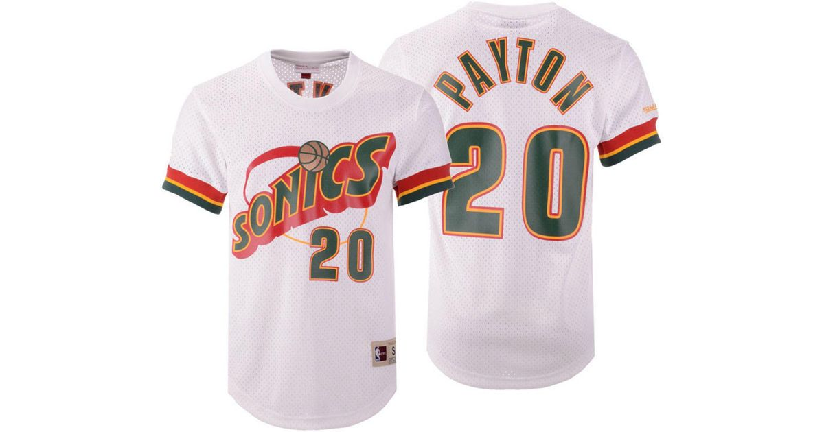 super popular 2e54b 1e955 Mitchell & Ness White Gary Payton Seattle Supersonics Name And Number Mesh  Crewneck Jersey for men