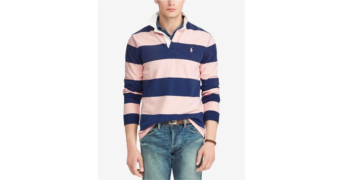 Rugby Slim Ralph Men Custom For Lauren Polo Blue Pink Pony roxCeWdB