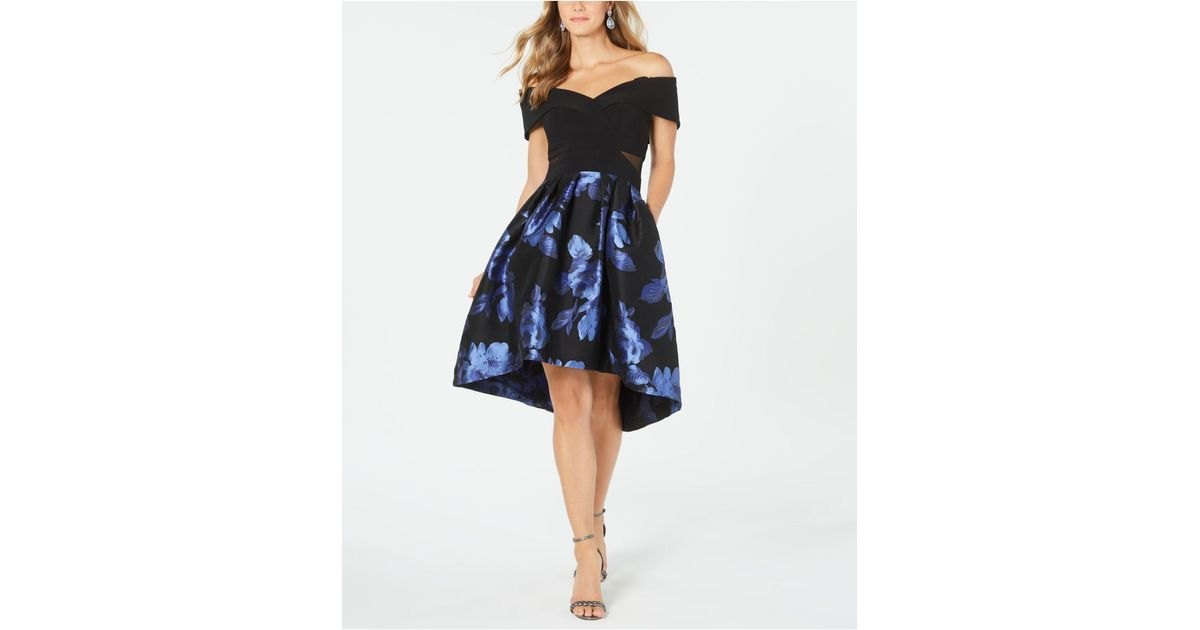Xscape Synthetic Off The Shoulder Floral Print Fit Amp Flare