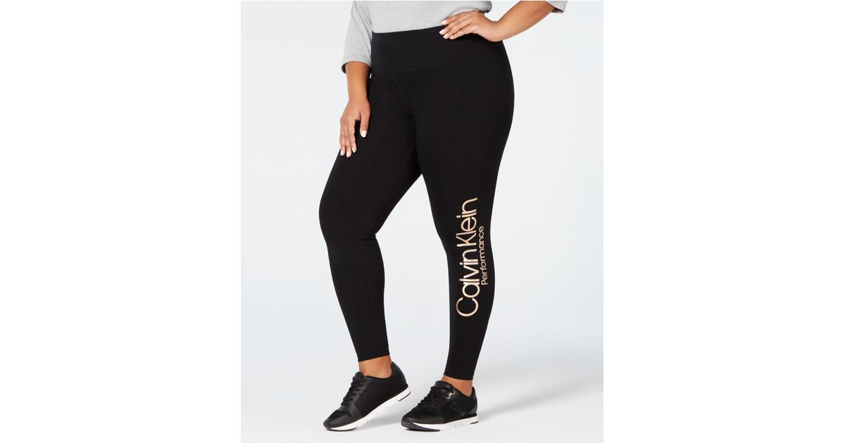 f1e3911142 Lyst - Calvin Klein Performance Plus Size High-waist Logo Leggings in Black