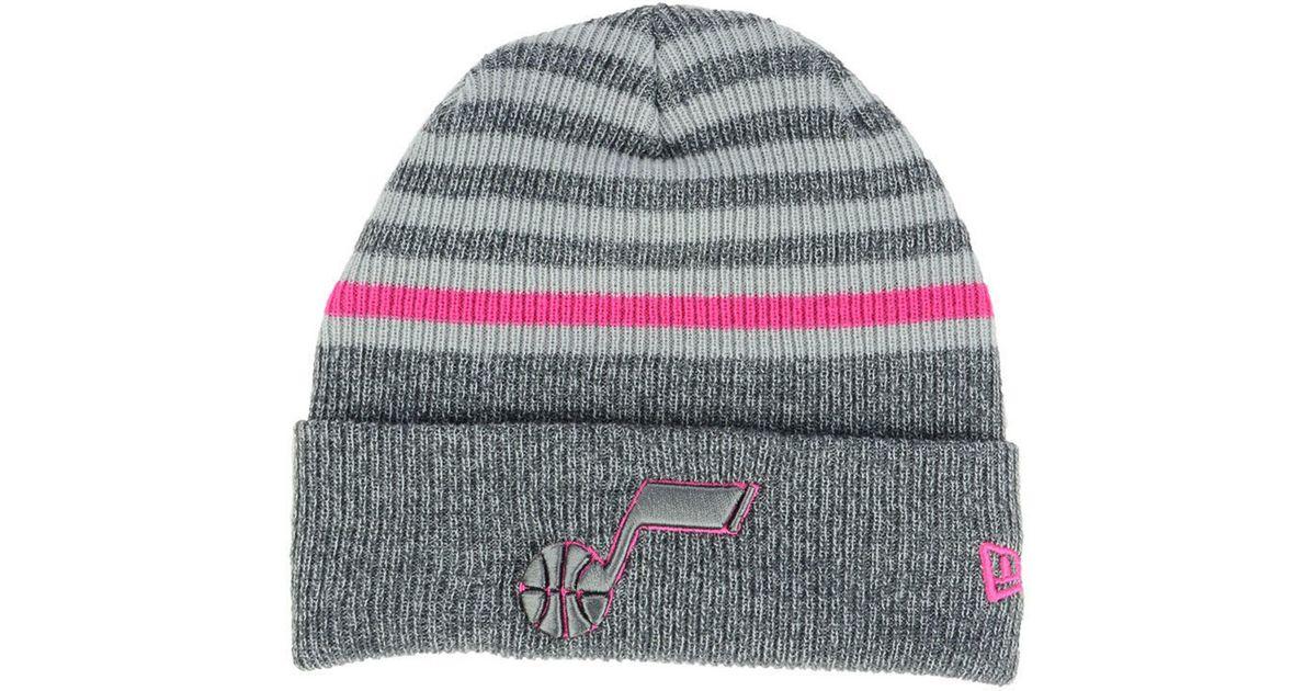 Lyst - KTZ Utah Jazz Striped Cuff Knit Hat in Gray d9f5c0d1cf6