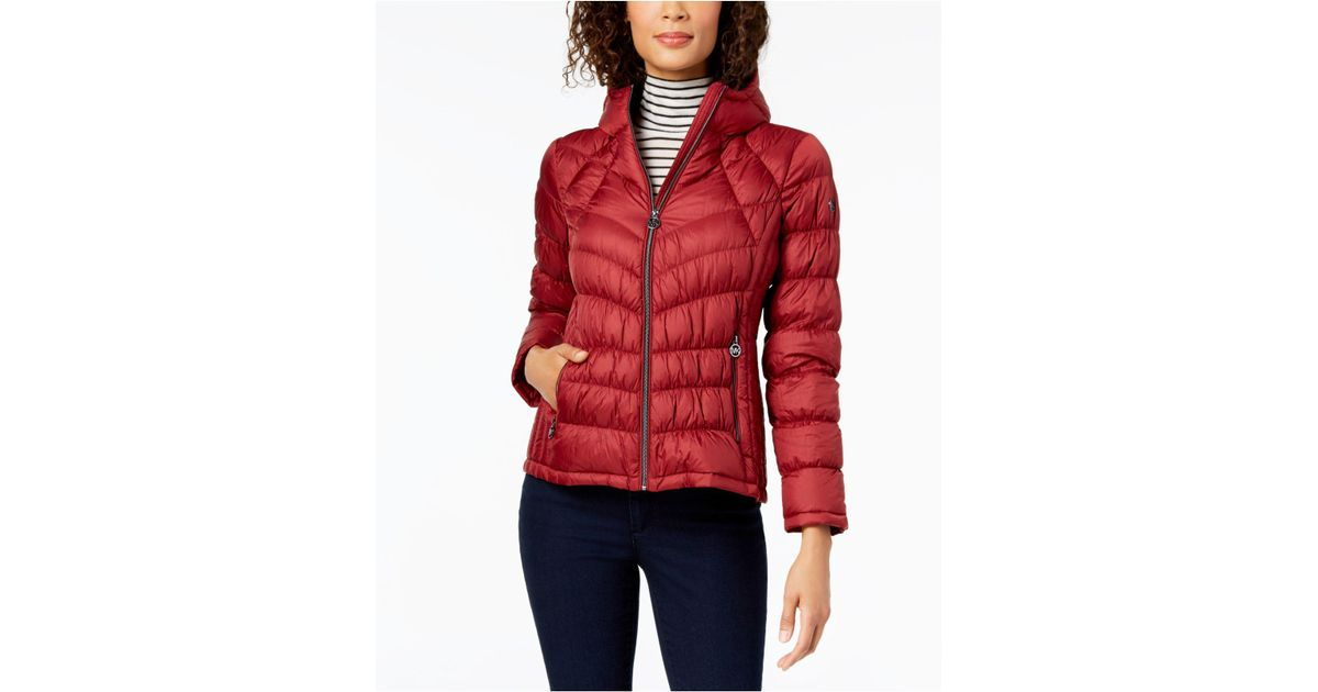 e9551bfa6415 Michael Kors Michael Hooded Packable Puffer Coat in Red - Save 6% - Lyst
