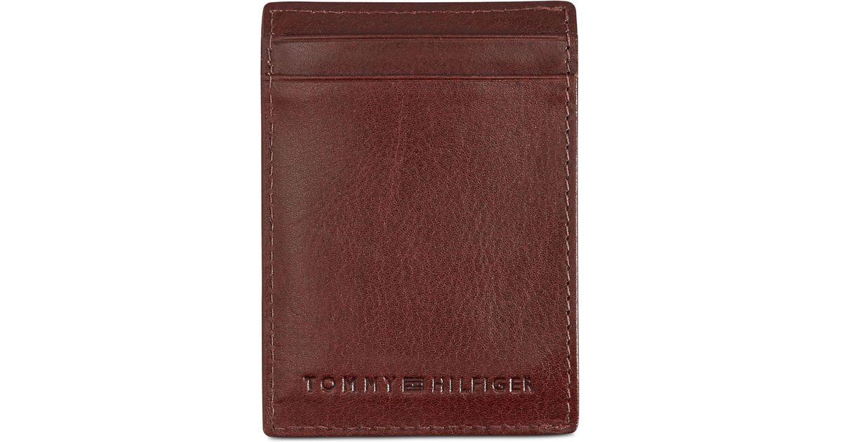 Tommy Hilfiger Men/'s York Slim Magnetic Front Pocket Wallet Tan