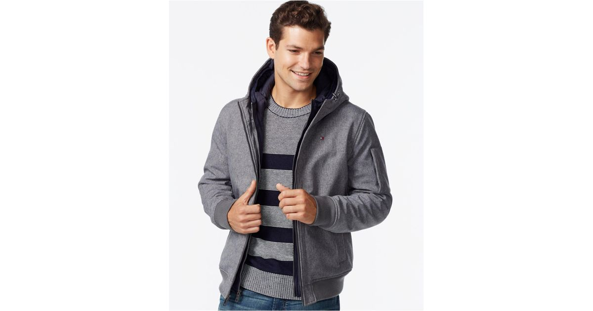 87395f56ded Lyst - Tommy Hilfiger Men s Big   Tall Double-layer Hooded Bomber Coat in  Gray for Men