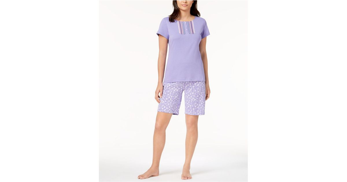 Charter Club Nightie PJs Medium Ribbon Lace Floral Cotton Pretty