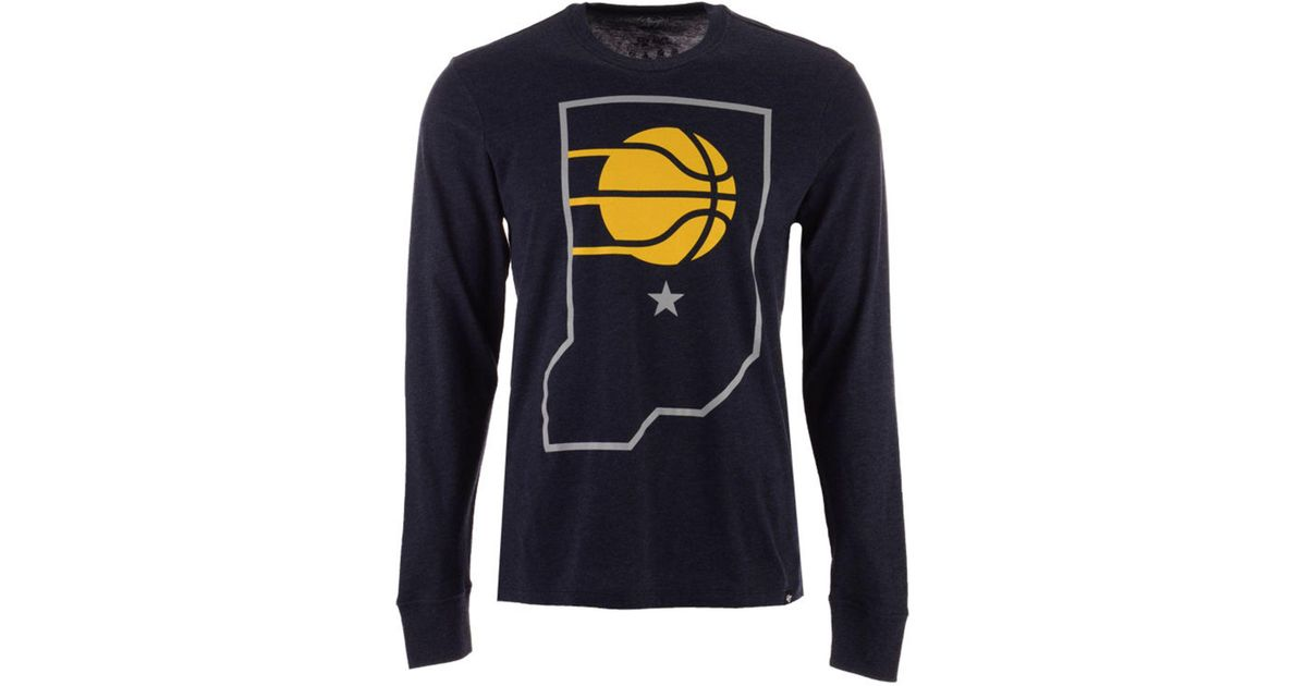 free shipping 3b4ff e3dc1 47 Brand Blue Indiana Pacers Secondary Logo Long Sleeve T-shirt for men