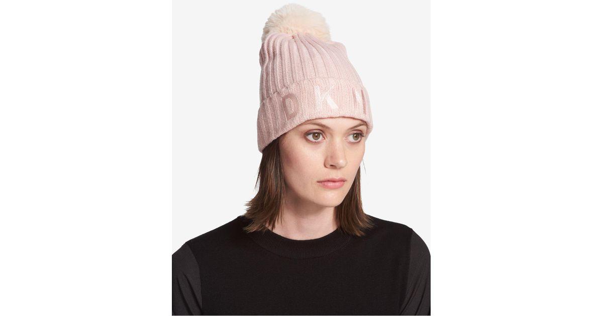 9716ab7f7 DKNY Pink Pom Pom Logo Beanie