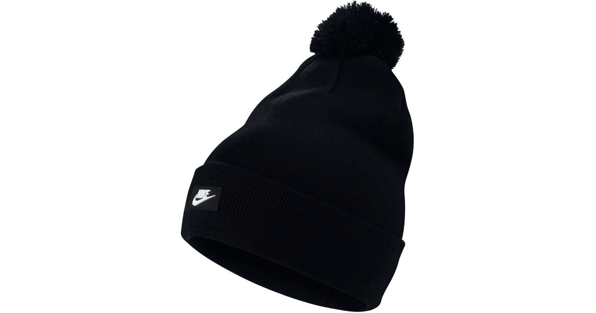 huge selection of 5ca95 30692 Nike Sportswear Removable Pom Pom Beanie in Black for Men - Lyst