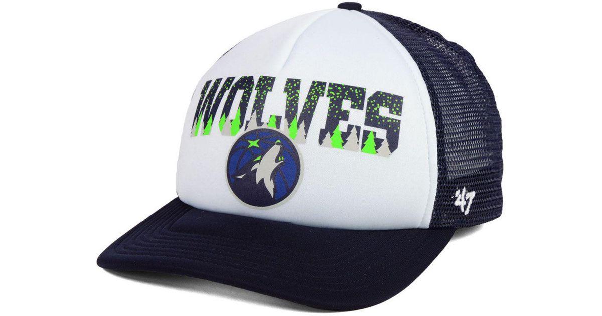 best service a3b91 13eaa ... best price lyst 47 brand minnesota timberwolves region mesh mvp cap in  blue for men 5931e
