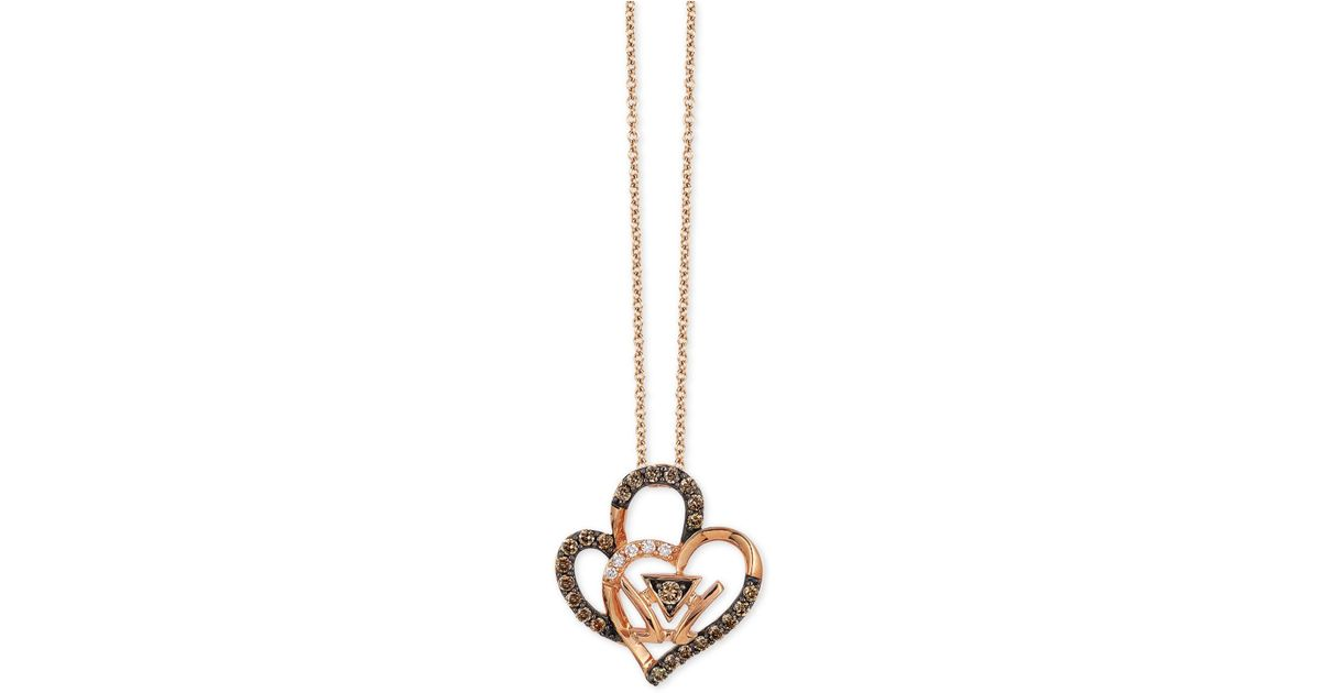 Lyst le vian double heart pendant necklace 14 ct tw in 14k lyst le vian double heart pendant necklace 14 ct tw in 14k rose gold in metallic mozeypictures Image collections