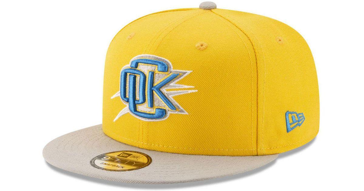 buy popular 91cac 1c80e ... canada lyst ktz oklahoma city thunder light city combo 9fifty snapback  cap in yellow for men