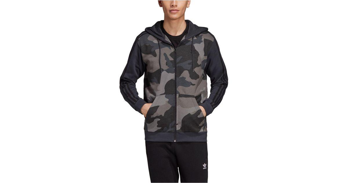 Adidas Black Originals Camo Zip Hoodie for men
