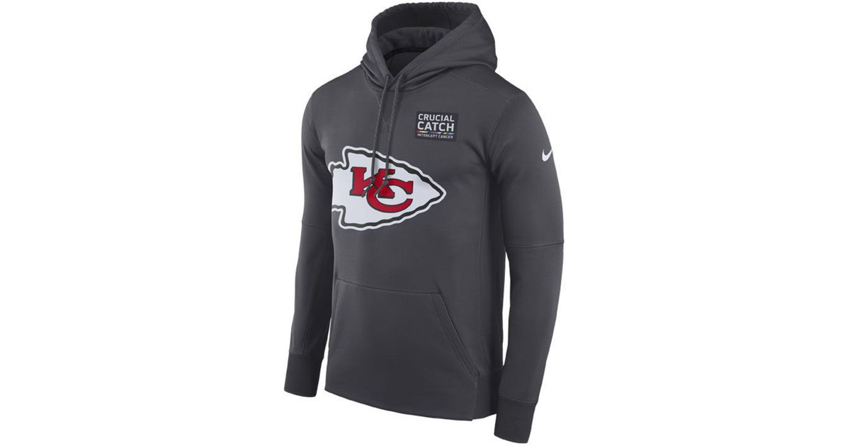 buy popular 56b79 a5644 Nike Gray Kansas City Chiefs Crucial Catch Therma Hoodie for men