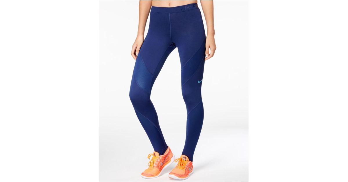 9f0c6b1f1ddcc ... Lyst - Nike Pro Hyperwarm Leggings in Blue ...
