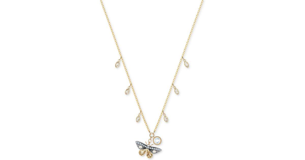 70929e2bbcf42 Swarovski Metallic Two-tone Crystal & Imitation Pearl Butterfly Pendant  Necklace, 14-4/5