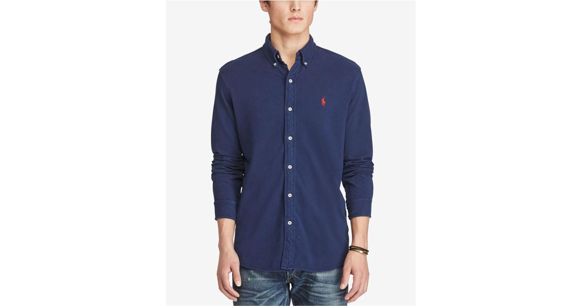 2f1973addc3 ... low price lyst polo ralph lauren mens classic fit cotton mesh shirt in  blue for men coupon ...