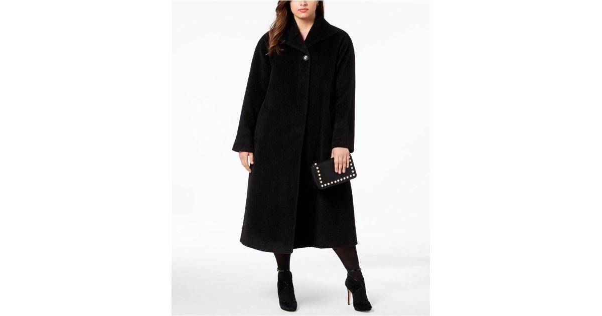 38721815b19 Lyst - Jones New York Plus Size Wool-blend Maxi Walker Coat in Black