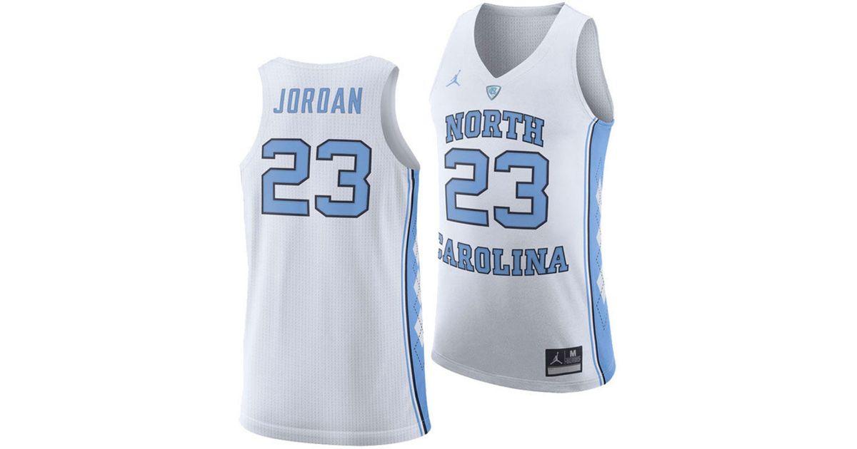 quality design 83055 7e7e5 Nike White Michael Jordan North Carolina Tar Heels Authentic Basketball  Jersey for men