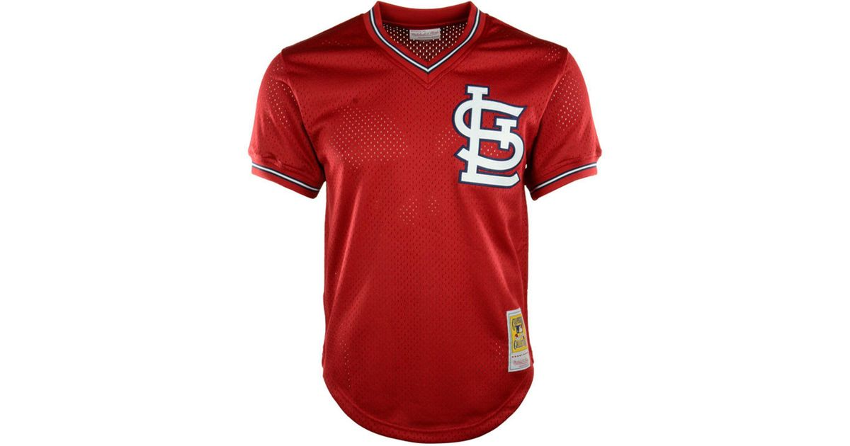 online store aef4b dc541 Mitchell & Ness Red Ozzie Smith St. Louis Cardinals Authentic Mesh Batting  Practice V-neck Jersey for men