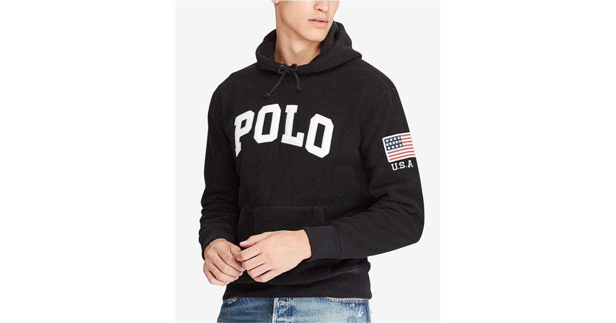 323c019b Polo Ralph Lauren Men's Graphic-print Fleece Hoodie in Black for Men - Lyst