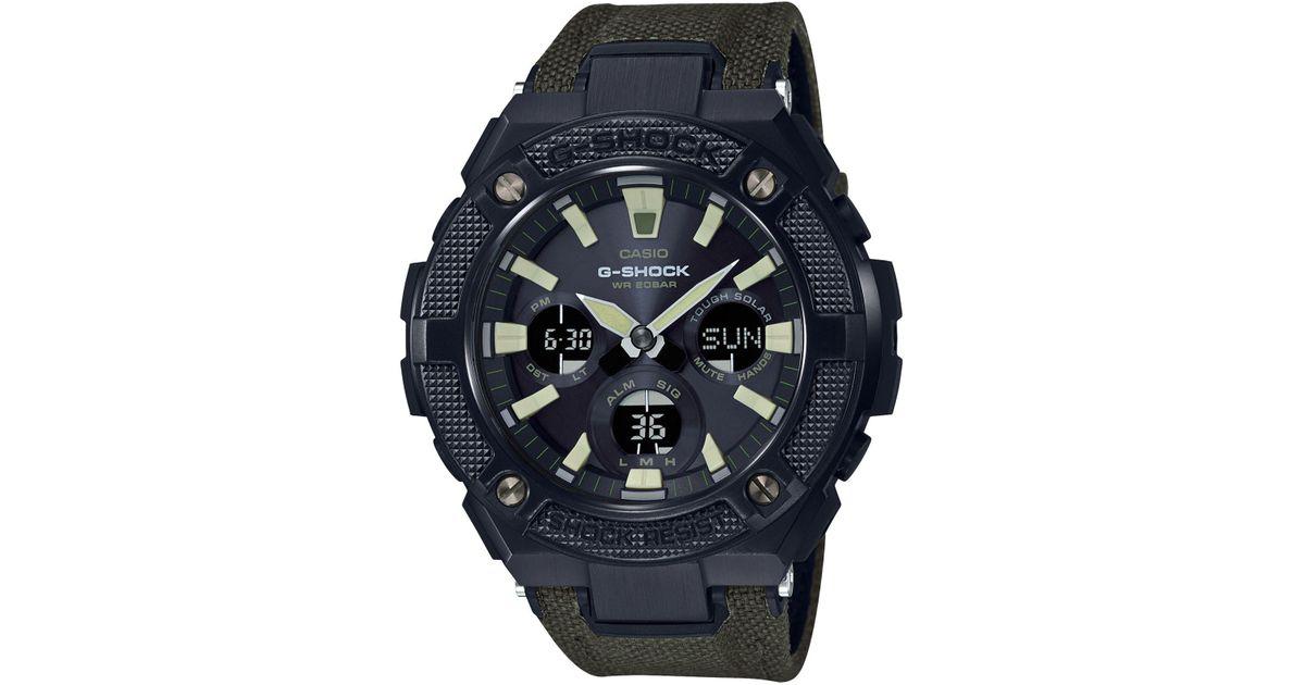 G Shock Black Solar Analog Digital G Steel Green Cordura Nylon Leather Strap Watch 52mm For Men