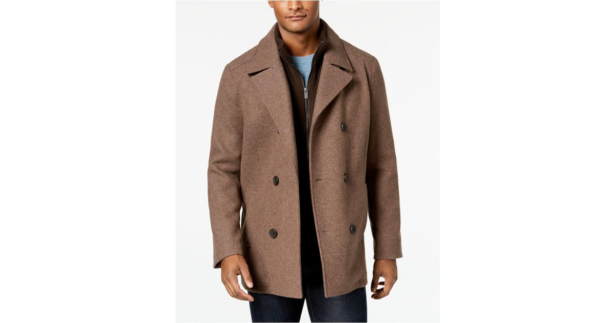 9d983f69e49 Lyst - Kenneth Cole Double Breasted Wool Blend Peacoat With Bib in Brown  for Men