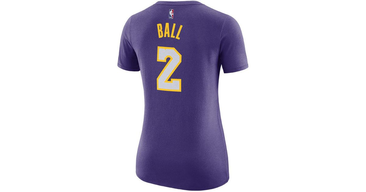 Lyst - Nike Lonzo Ball Los Angeles Lakers Name   Number Player T-shirt in  Purple 017b21403