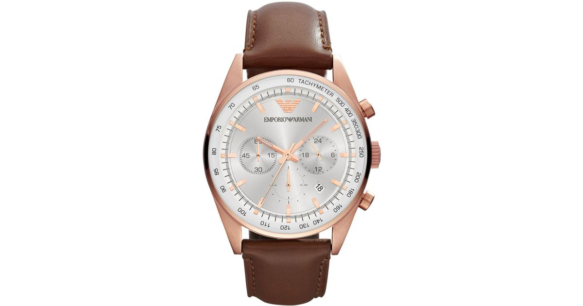 1aef87e8b66 Lyst - Emporio Armani Men s Chronograph Brown Leather Strap Watch 43mm  Ar5995 in Brown for Men
