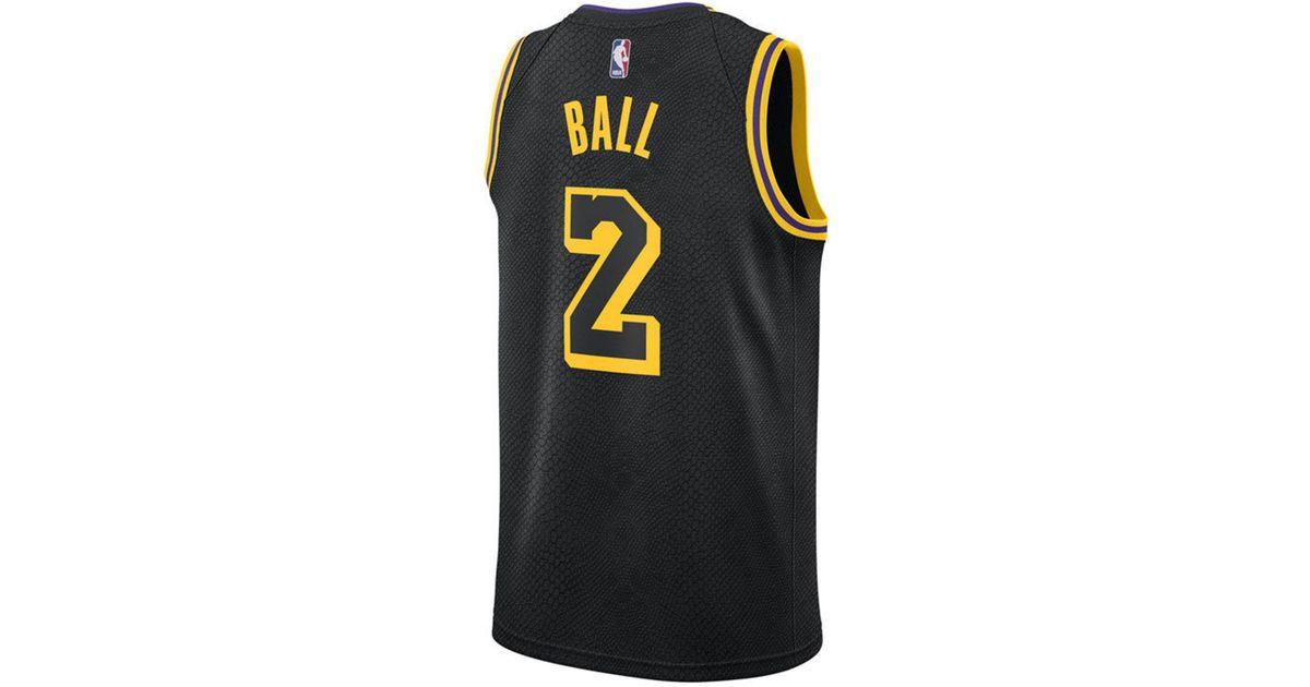 best website b83a2 e754b Nike Black Lonzo Ball Los Angeles Lakers City Swingman Jersey for men
