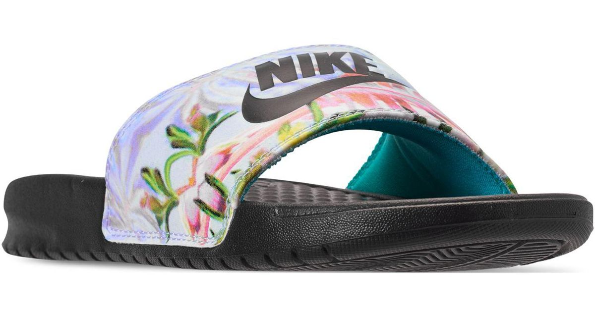 Lyst - Nike Benassi Just Do It Print Slide Sandals From Finish Line in Black 24be2ec57d30