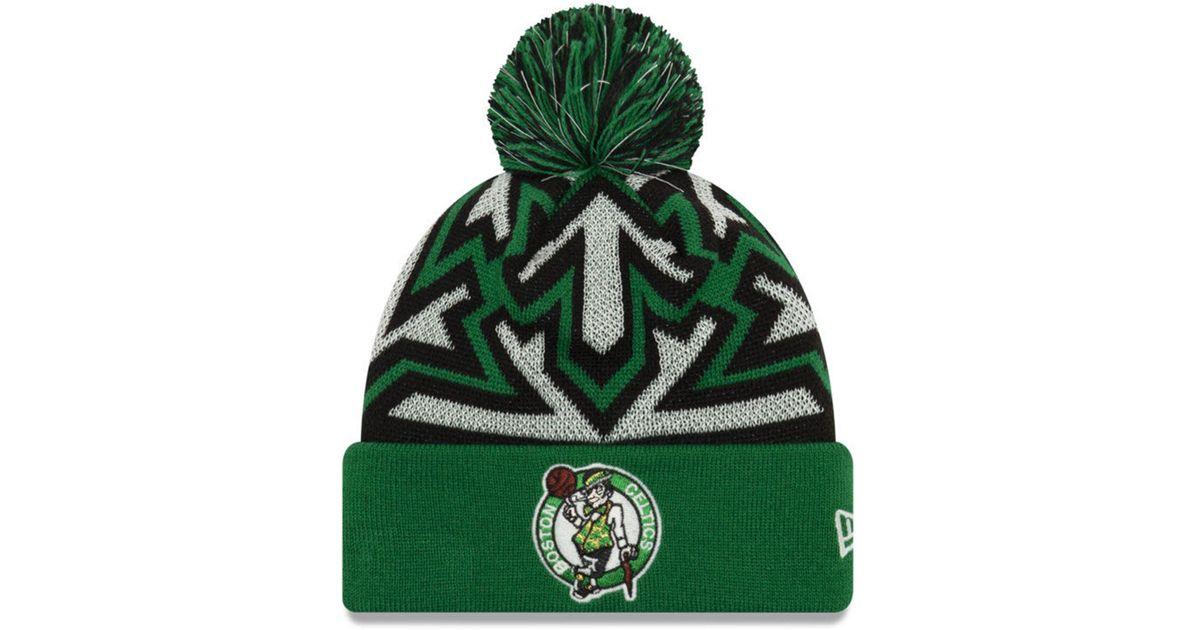 70f19e3a6 KTZ Green Boston Celtics Glowflake Cuff Knit Hat for men