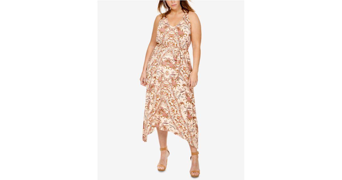 Lyst - Lucky Brand Trendy Plus Size Handkerchief-hem Dress in Pink