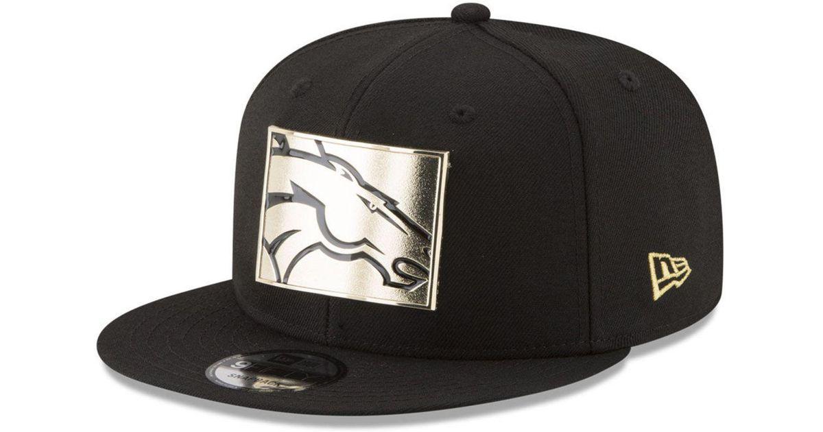 4a09c315 KTZ Black Denver Broncos Gold Stated 9fifty Snapback Cap for men