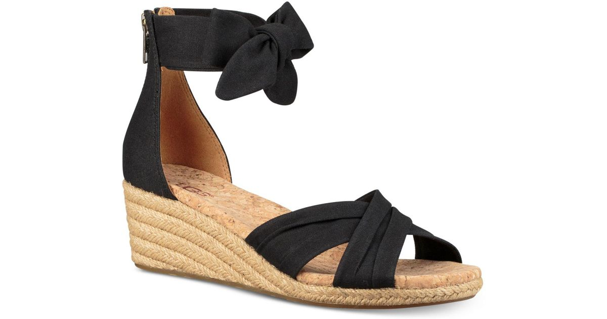 8d2a411bf37 Ugg Black Traci Espadrille Wedge Sandals