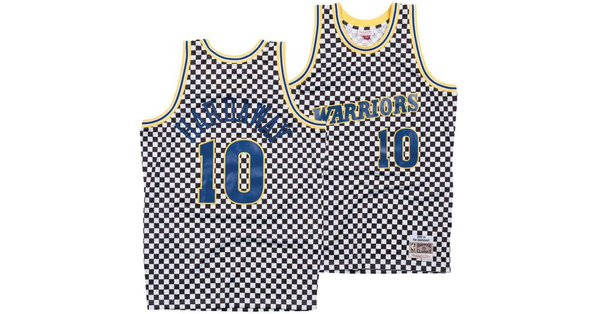 82fa4c2d9 Mitchell   Ness Tim Hardaway Golden State Warriors Checkerboard Swingman  Jersey for Men - Lyst