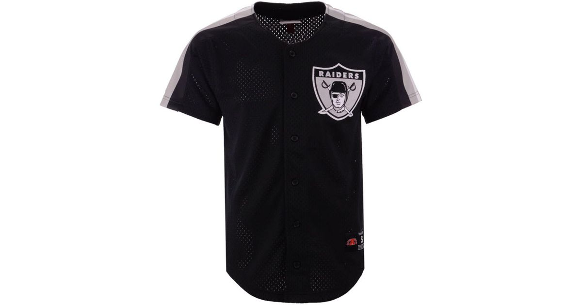 cheap for discount ea174 c2b85 Mitchell & Ness Black Oakland Raiders Winning Team Mesh Button Front Jersey  for men