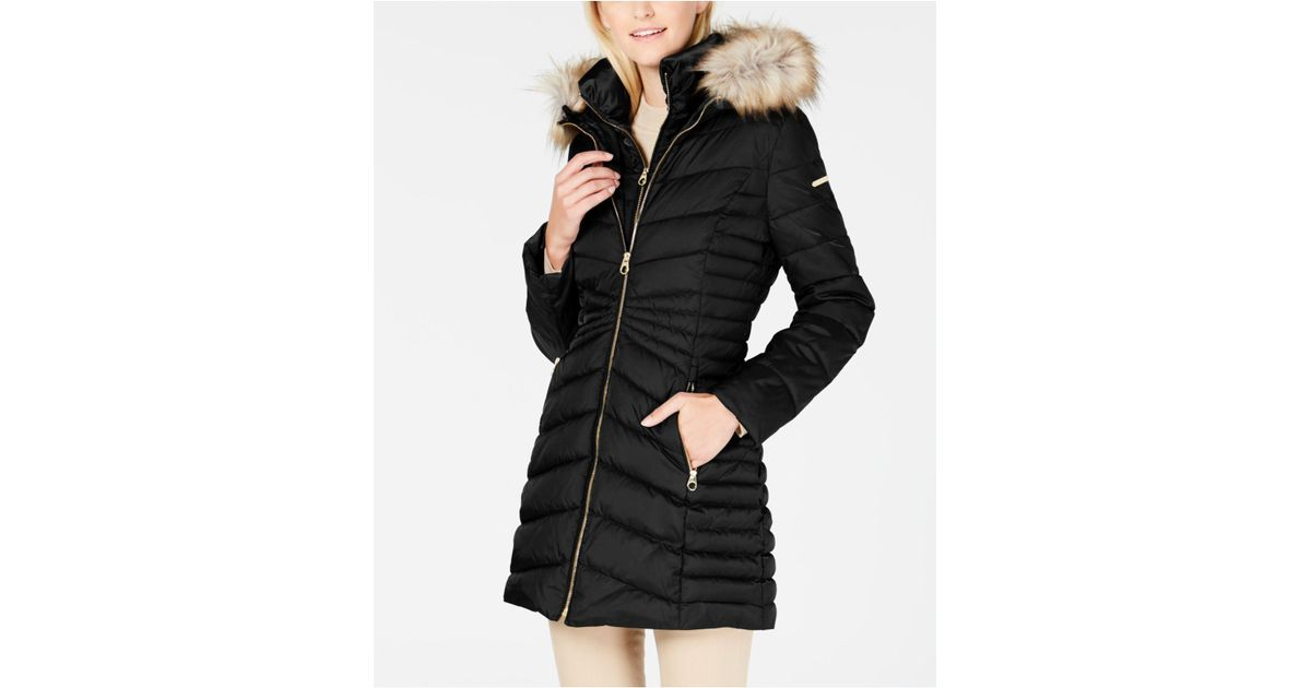 a1fc9aa82 Laundry by Shelli Segal Black Faux-fur-trim Hooded Quilted-panel Puffer Coat