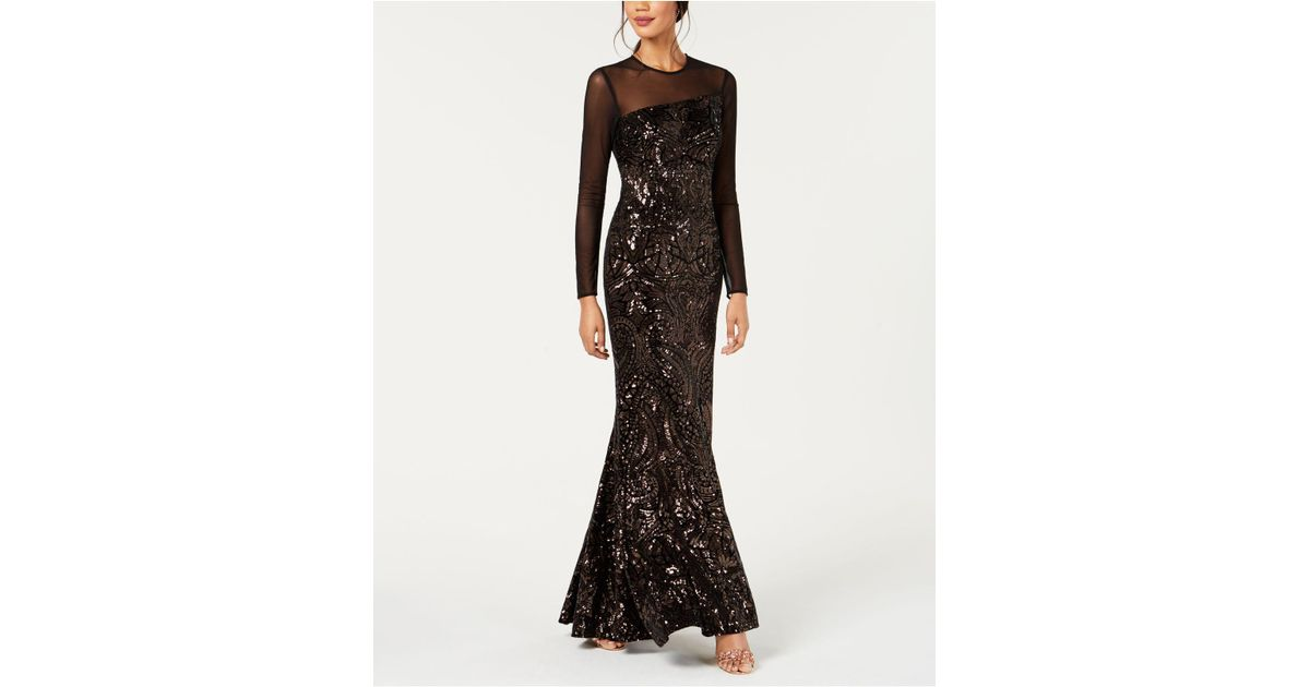 0287a3e6b9 Lyst - Betsy   Adam Long-sleeve Velvet   Sequin Evening Gown in Black