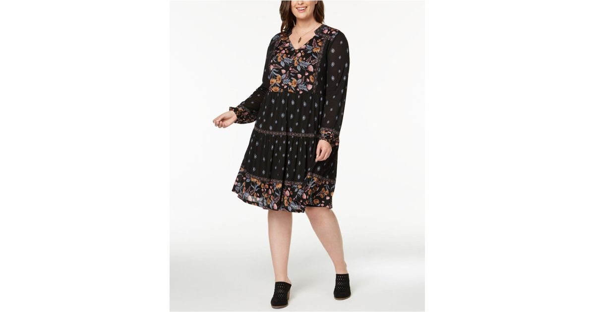 Lyst Style Co Plus Size Mixed Print Peasant Dress Created For