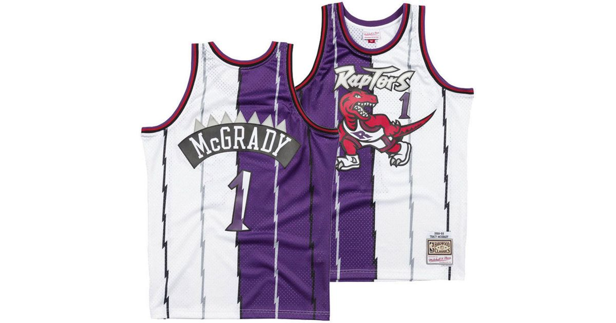 check out a8a0a 15d0d Mitchell & Ness Purple Tracy Mcgrady Toronto Raptors Split Swingman Jersey  for men