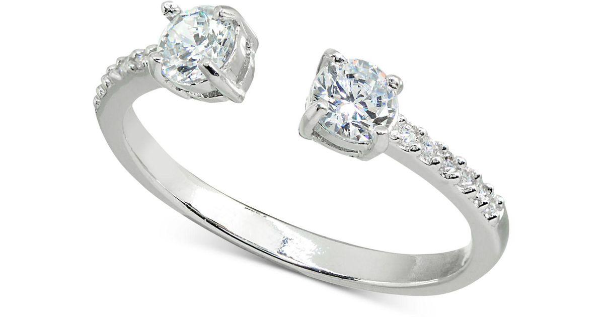 2f77e3e0a694e Giani Bernini Metallic Cubic Zirconia Stackable Cuff Ring In Sterling  Silver, Created For Macy's