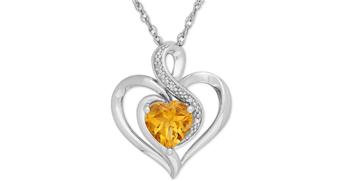Lyst macys citrine 1 110 ct tw and diamond accent heart lyst macys citrine 1 110 ct tw and diamond accent heart pendant necklace in sterling silver in yellow aloadofball Image collections