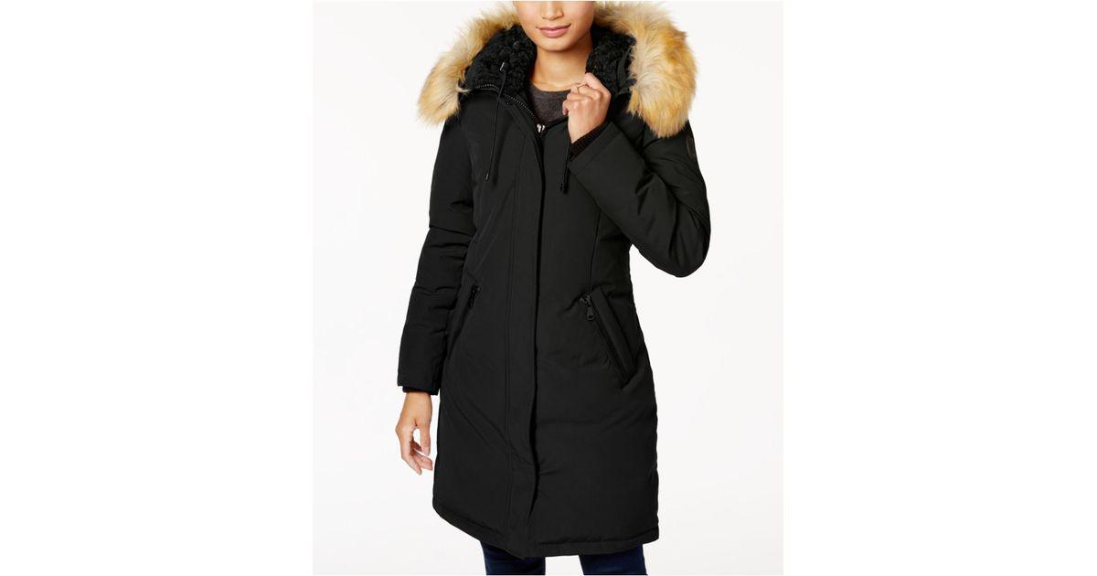 Vince camuto faux fur trim hooded down parka
