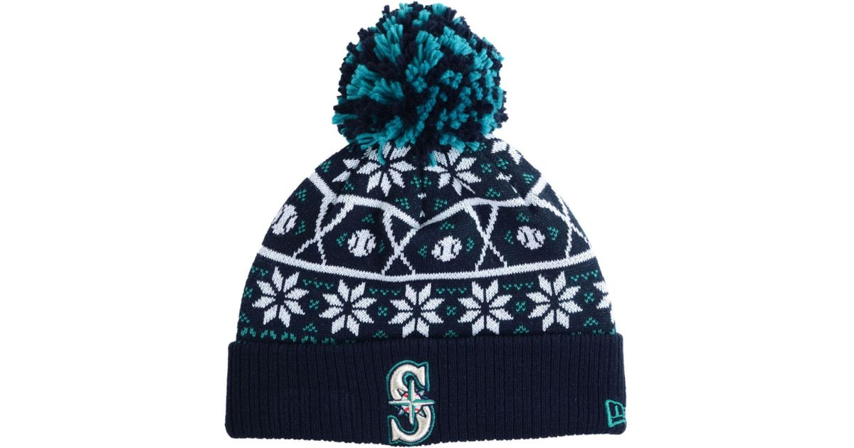 on sale afd95 a0102 Lyst - KTZ Seattle Mariners Sweater Chill Pom Knit Hat in Blue for Men