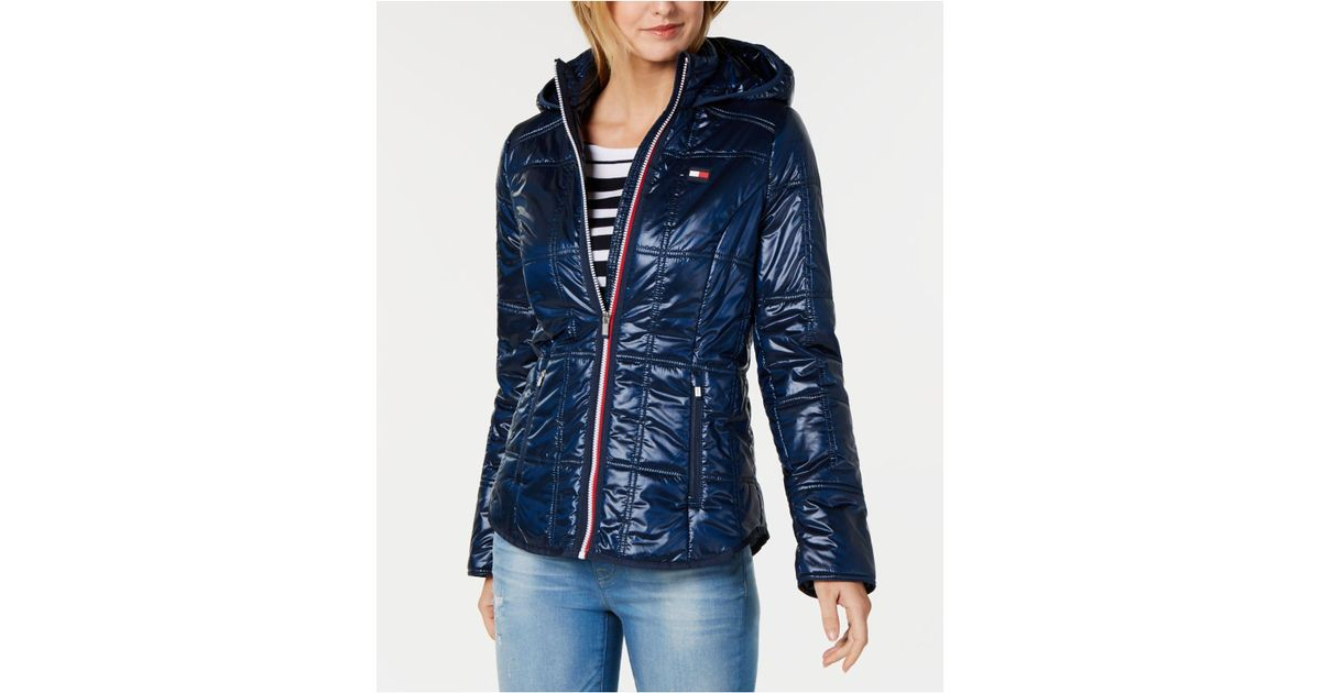 buy cheap classic style of 2019 select for authentic Tommy Hilfiger Blue Sport Quilted Hooded Jacket