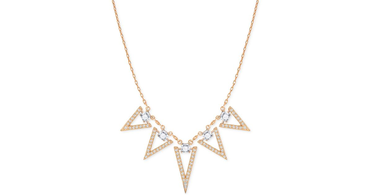 f3514b2a72afb Swarovski Metallic Rose Gold-tone Square Crystal And Triangle Collar  Necklace