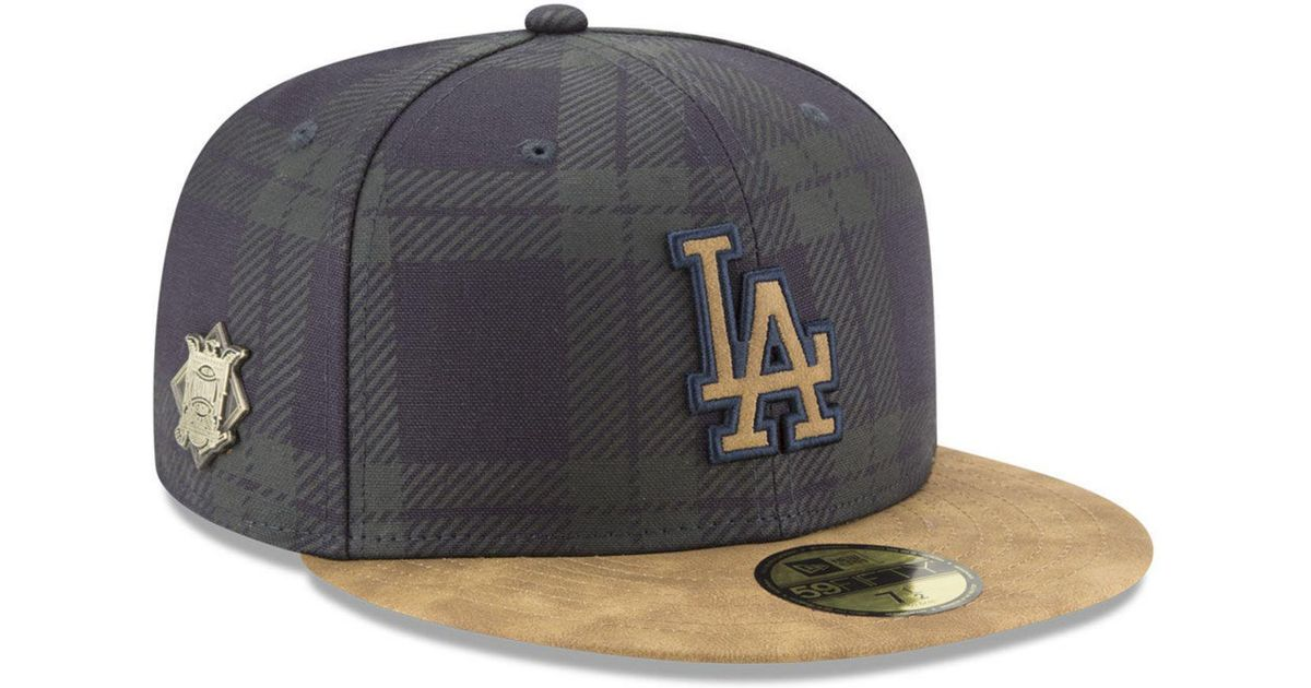 best service c0517 3f6d2 Lyst - KTZ Los Angeles Dodgers Plaid 59fifty Fitted Cap in Blue for Men